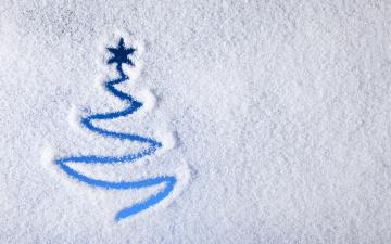 обоя праздничные, Ёлки, снег, ёлка