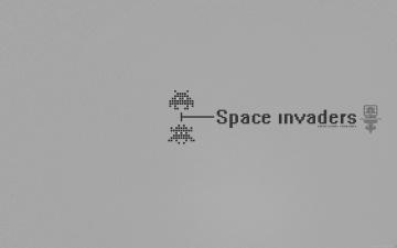 обоя видео игры, space invaders, монстры, серый, фон, пиксели