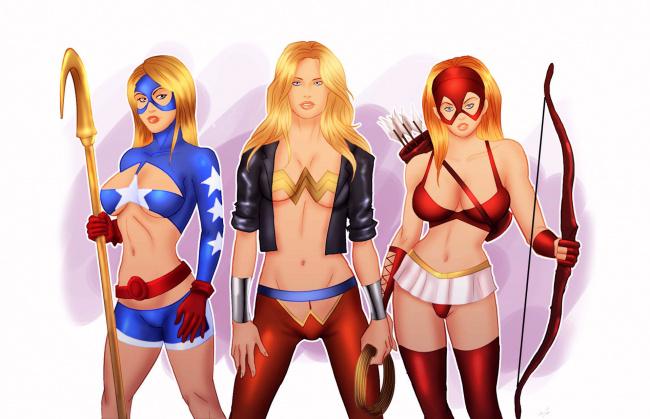 Обои картинки фото рисованное, комиксы, девушки, фон, взгляд, униформа