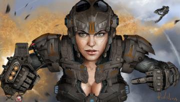 Картинка фэнтези девушки девушка солдат скафандр защитный взрыв