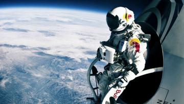 обоя космос, астронавты, космонавты, земля, планета, стратосфера, red, bull, скафандр, прыжок