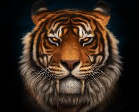 Картинка рисованное животные +тигры морда клыки тигр саблезубый