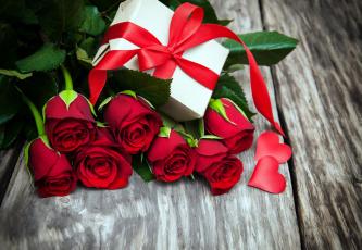 обоя цветы, розы, лента, алый, подарок, сердечко
