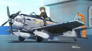 обоя аниме, оружие,  техника,  технологии, взгляд, девушка, самолет, фон