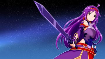 Картинка аниме sword+art+online оружие фон взгляд девушка