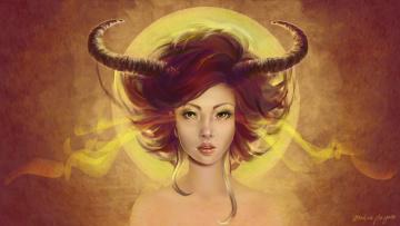 обоя фэнтези, демоны, взгляд, арт, рога, демоница