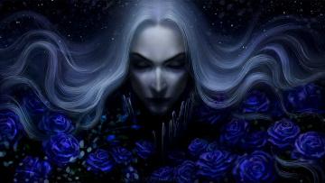обоя фэнтези, люди, розы, цветы, портрет