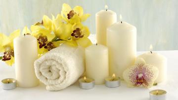 обоя разное, свечи, орхидеи, полотенце, спа