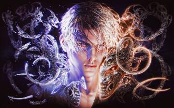 обоя фэнтези, люди, фантазия, парень, демон, арт, свет, мужчина, лицо, тьма