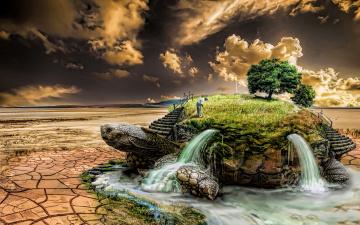 обоя фэнтези, фотоарт, пустыня, травка, другой, мир, Черепаха