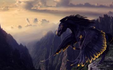 обоя фэнтези, пегасы, черный, пегас, полет, горы, крылатый, конь