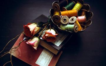 обоя разное, ремесла,  поделки,  рукоделие, нитки, розы, книги