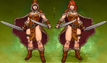 обоя рисованное, комиксы, девушка, фон, взгляд, меч