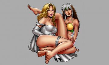 обоя рисованное, комиксы, девушки, фон, взгляд, униформа