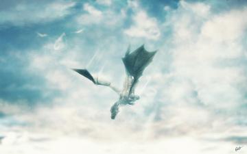 Картинка фэнтези драконы полет облака дракон