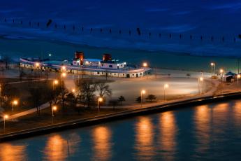 Картинка корабли порты причалы ночь Чикаго