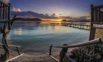 Картинка природа восходы закаты пляж бухта рассвет лестница