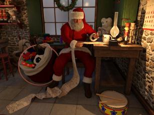 обоя праздничные, дед мороз,  санта клаус, дед, мороз