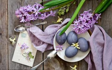 обоя праздничные, пасха, цветы, гиацинты, ложки, яйца, крашенки, открытка