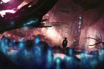 Картинка фэнтези иные+миры +иные+времена будущее небоскребы мегаполис иной мир