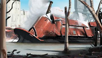 Картинка фэнтези транспортные+средства колесный пароход стимпанк будущее гавань винт