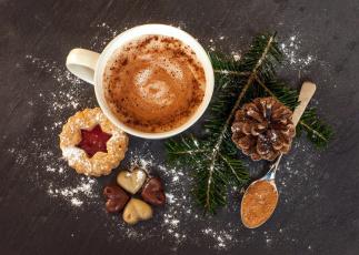 обоя праздничные, угощения, печенье, ветка, еловая, шишка, какао