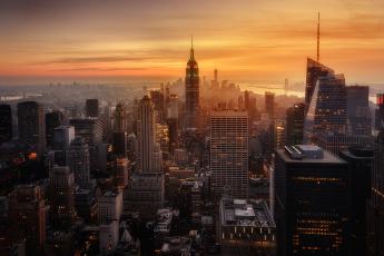 обоя города, нью-йорк , сша, нью, -, йорк, закат, город, вечер, дымка