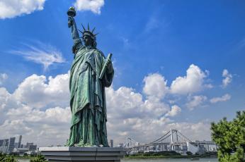 обоя города, нью-йорк , сша, статуя
