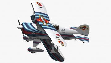 обоя авиация, 3д, рисованые, v-graphic, pitts, s1, martini, биплан, 3d, модель