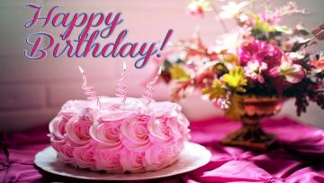 обоя праздничные, день рождения, поздравление, торт, букет, надпись, свечи