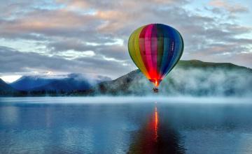 обоя авиация, воздушные шары, шар, озеро, горы, туман