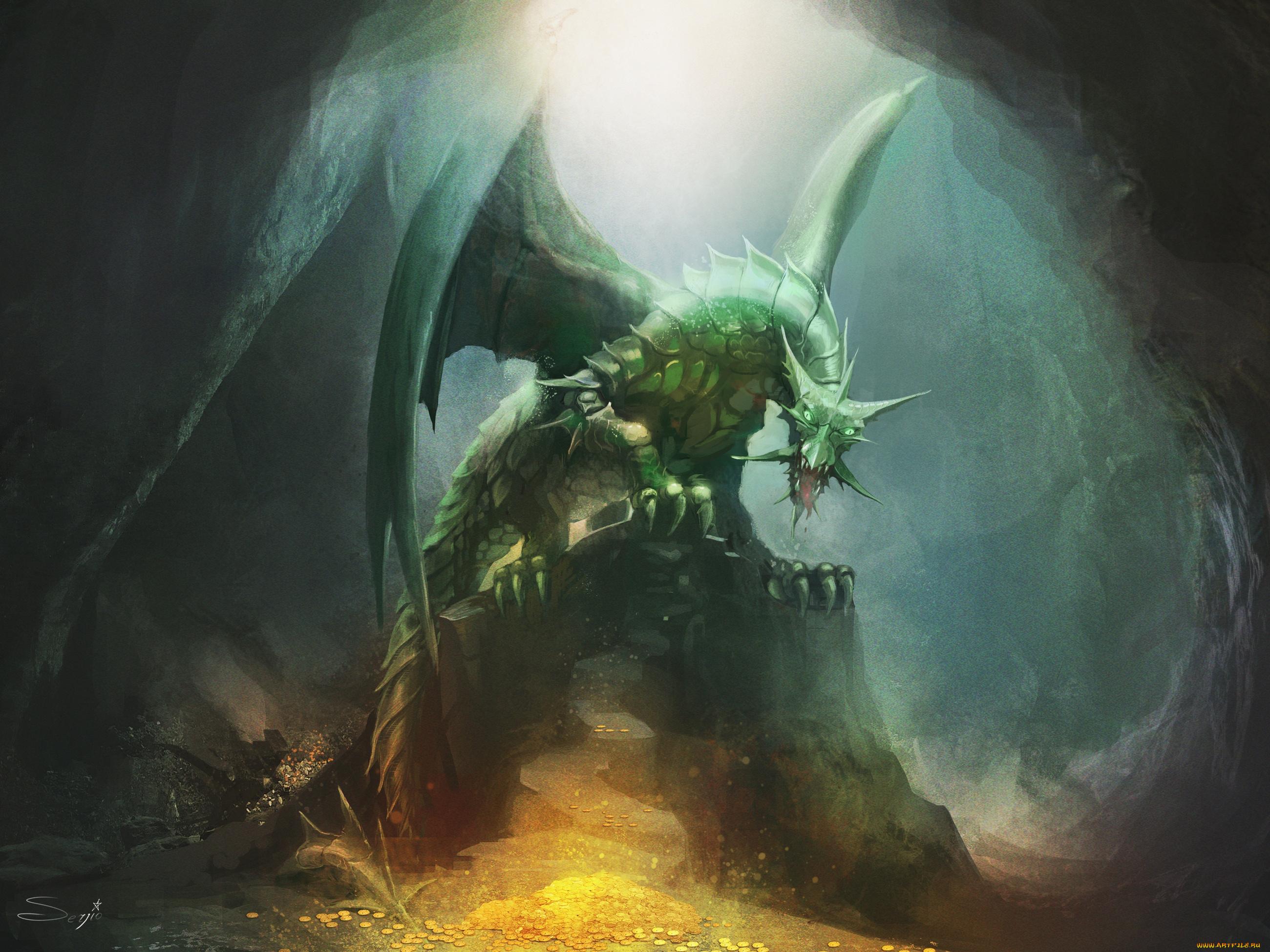 Нарисованый фэнтезийный зеленый дракон  № 3349224  скачать