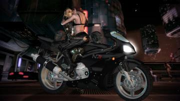 Картинка видео+игры mass+effect мотоцикл фон взгляд девушки