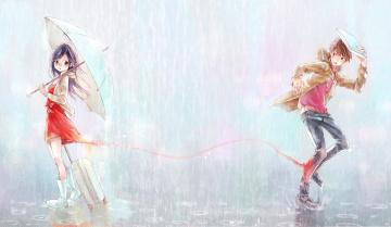 Картинка аниме unknown +другое парень девочка дождь