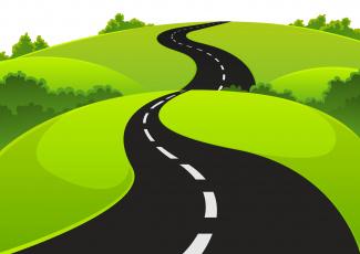 обоя векторная графика, природа , nature, луг, дорога