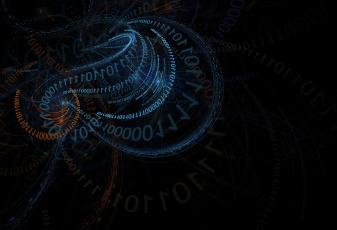 обоя 3д графика, абстракция , abstract, 4k, binary, code, neon, blue, numbers, hd