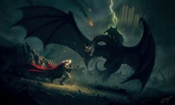 Картинка фэнтези lord of the rings ящер битва магия