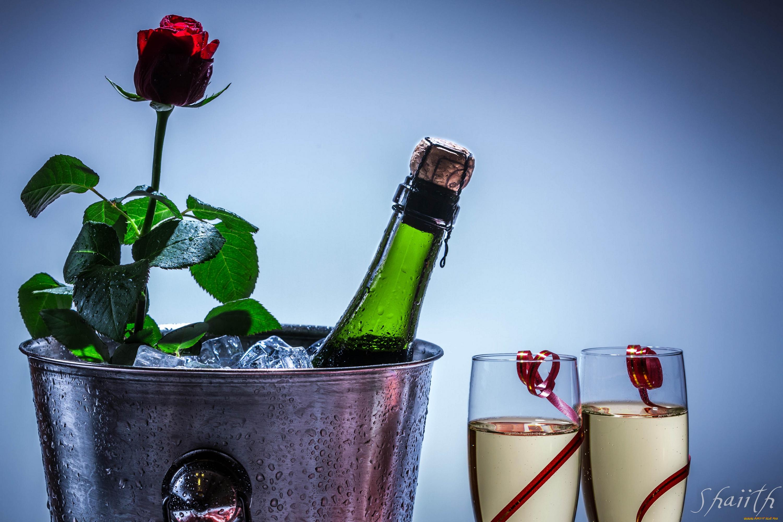 Картинки, открытки цветы и шампанское