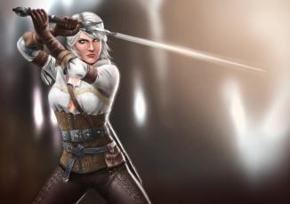 Картинка видео+игры the+witcher+3 +wild+hunt арт the witcher 3 wild hunt ведьмак дикая охота меч девушка