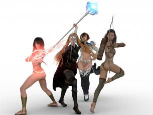 Картинка 3д+графика фантазия+ fantasy девушки взгляд фон оружие