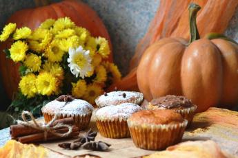 Картинка еда пирожные +кексы +печенье выпечка корица тыква цветы осень кексы