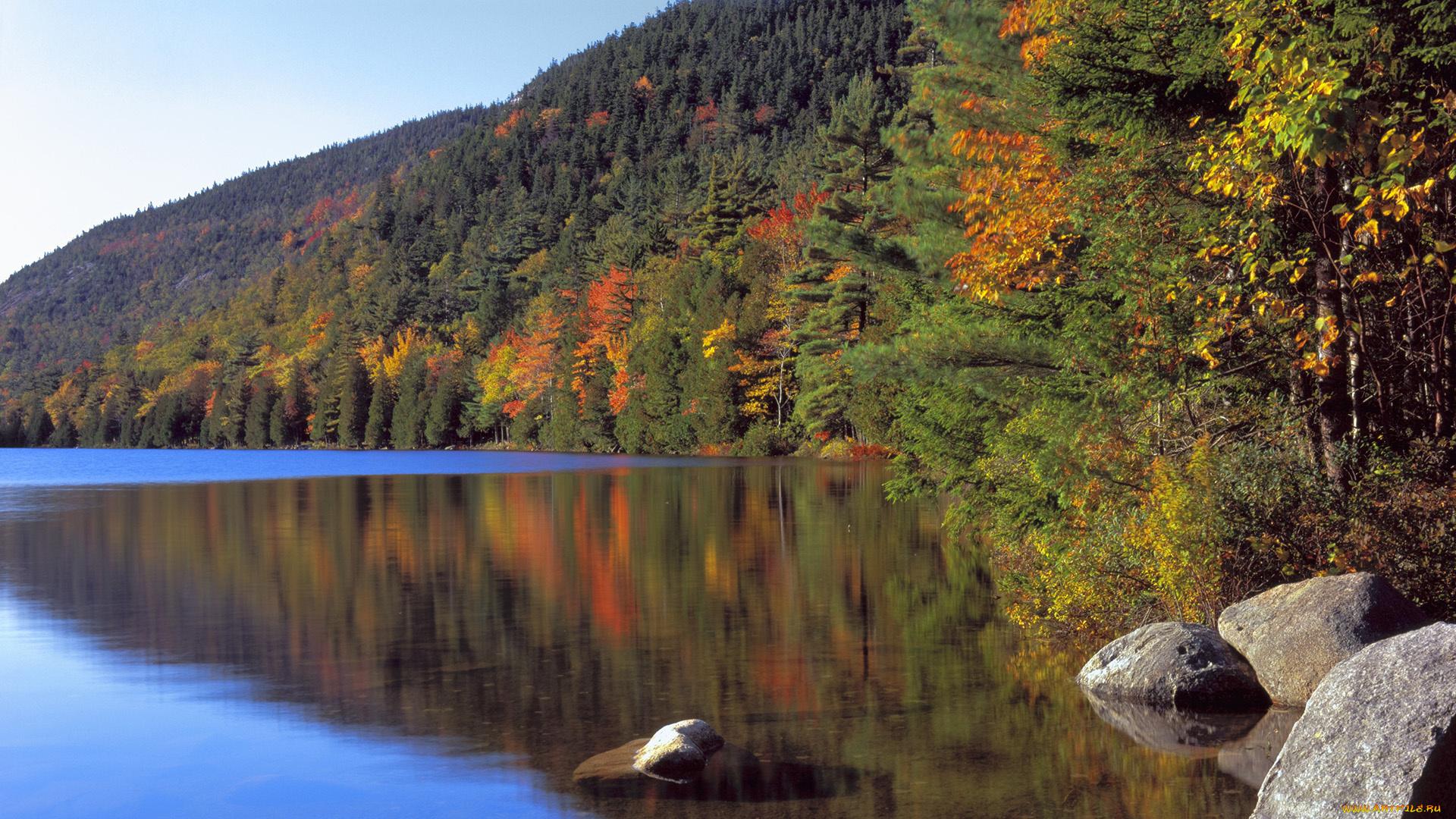 обои на рабочий стол осень природа река озеро лес № 241691 без смс
