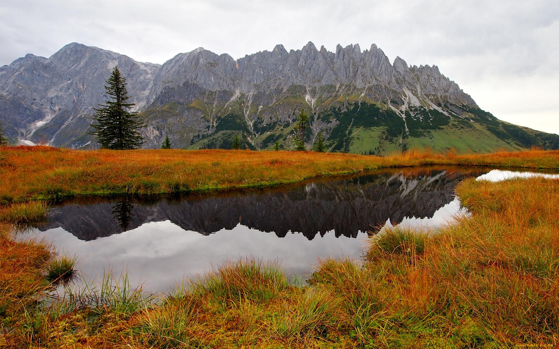 природа деревья осень озеро отражение горы без смс