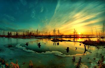 Картинка winter sunset природа восходы закаты зима озеро лед закат