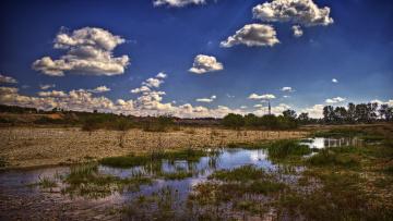 Картинка природа реки озера луг вода облака