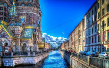 обоя города, санкт-петербург,  петергоф , россия, улицы, церковь, небо, канал, облака, дома, обработка