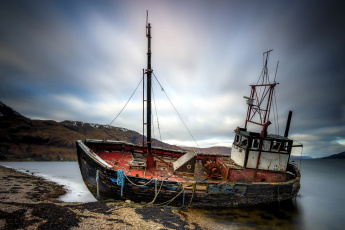 обоя корабли, баркасы ,  буксиры, старый, залив, баркас