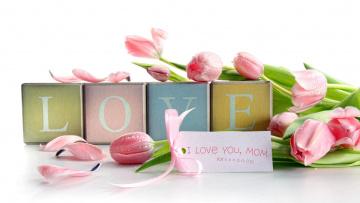 обоя праздничные, день святого валентина,  сердечки,  любовь, тюльпаны