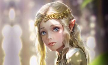 обоя фэнтези, эльфы, elven, princess, bluish, salt, арт, принцесса, девушка, эльфийка, эльф