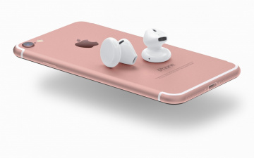обоя бренды, iphone, 7, cell, phone, headset, wireless, airpods, smartphone, pink, smartphones, technology, logo, high, tech